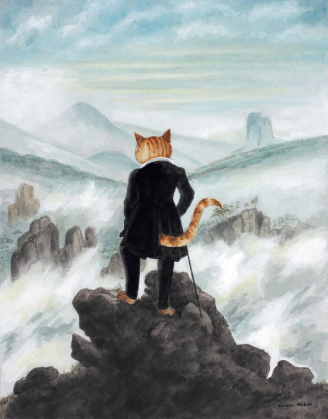 susan herbert cats galore cat art wanderer above the sea