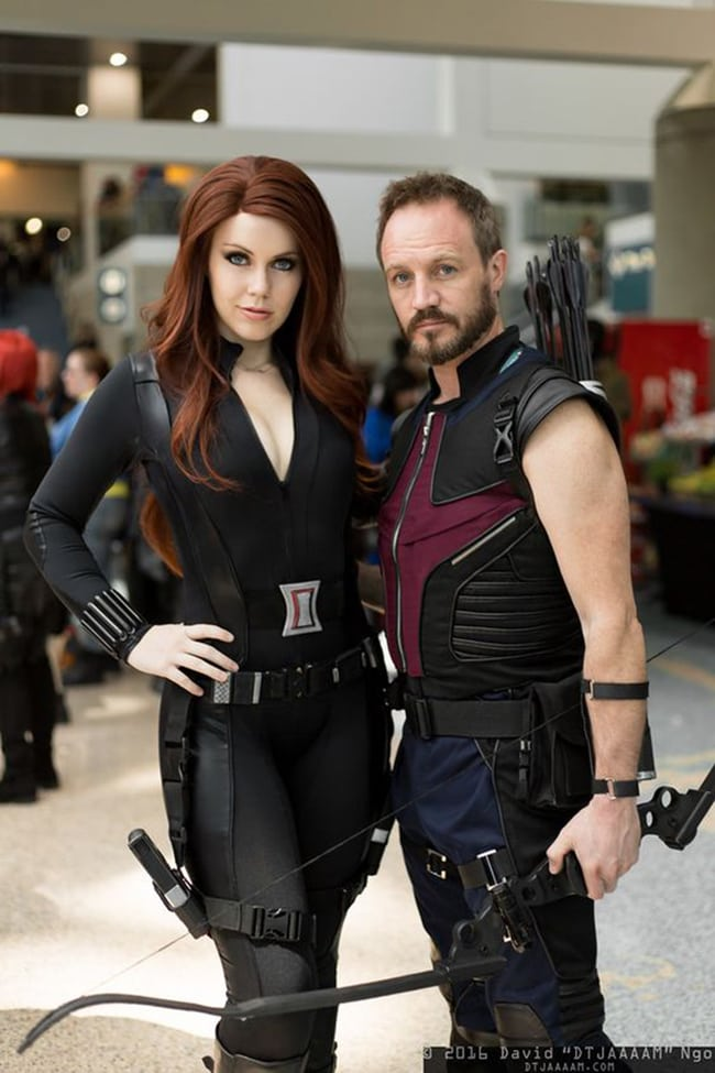 couple halloween costumes - black widow and hawkeye