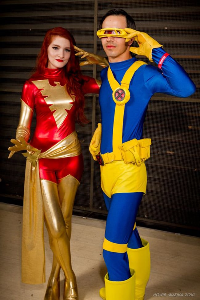 couple halloween costumes - phoenix and cyclops