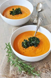 creamy roasted carrot, garlic, and rosemary soup - blended soups