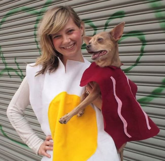 egg and bacon pet and owner halloween costumes