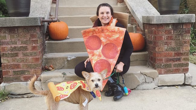 halloween costumes for owners and pets - pizza slice