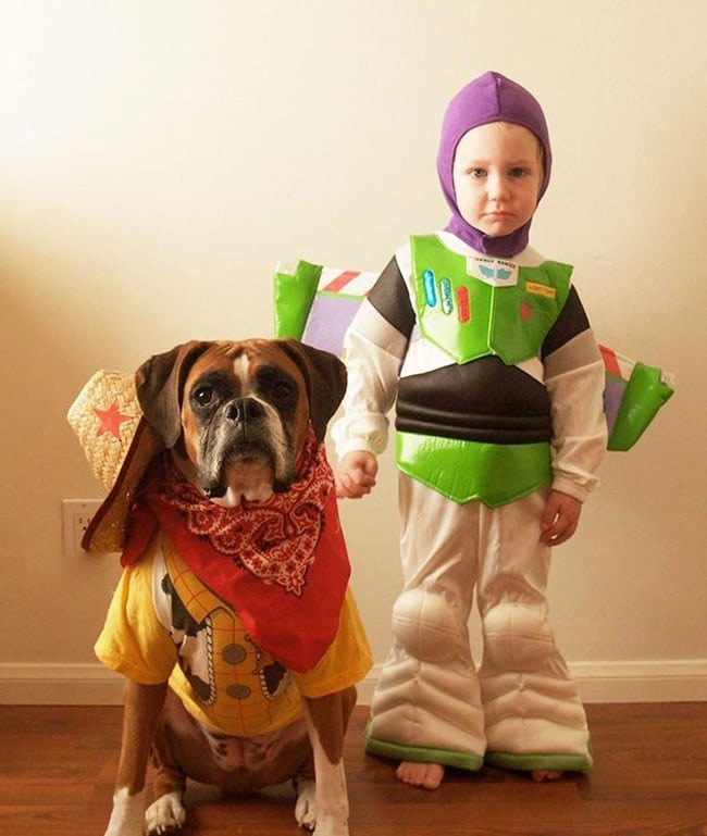 pet and owner halloween costumes - toy story