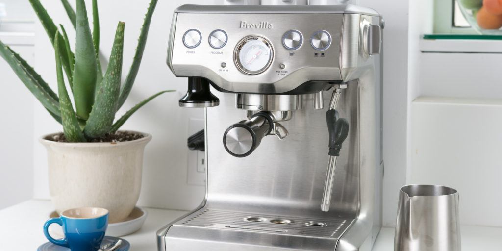 silver-colored home espresso machine