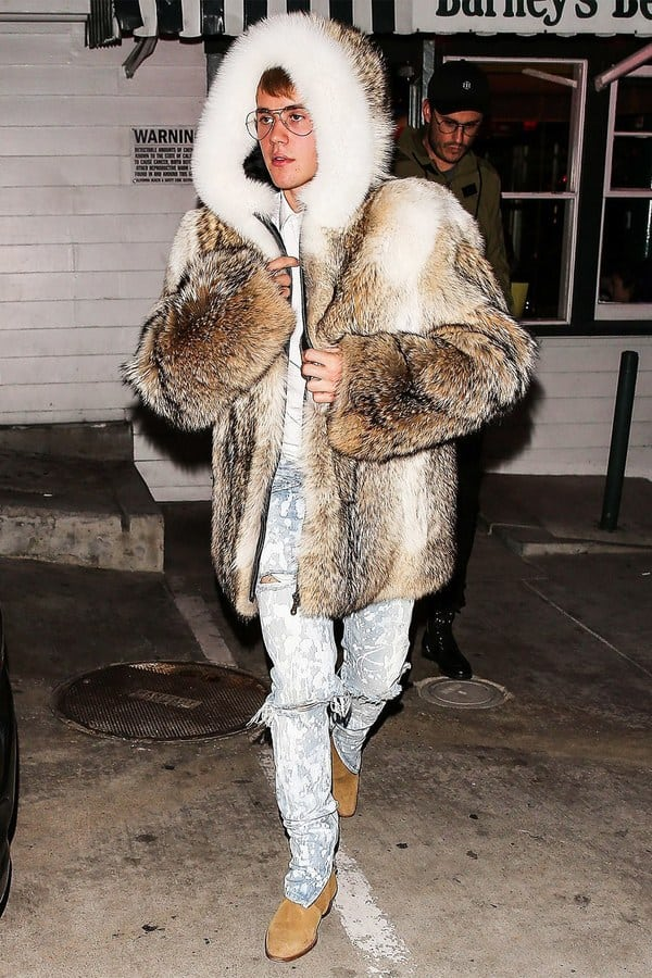 Justin Bieber outfits fur coat