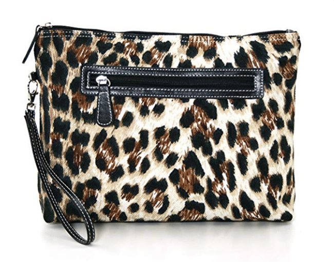 leopard print canvas large clutch