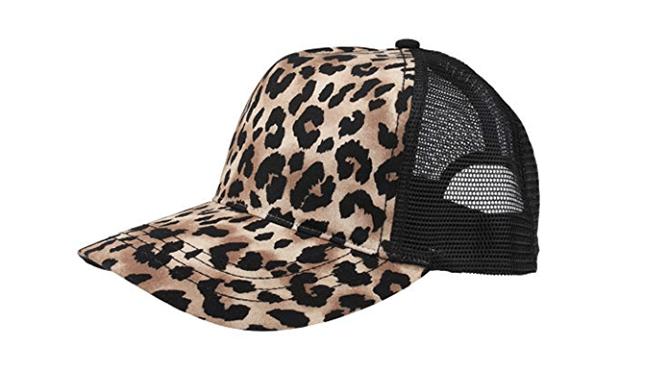 leopard print snap-back cap