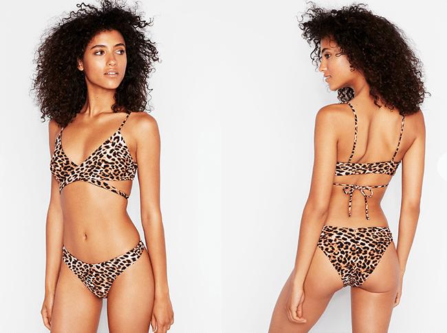 leopard print reversible wrap halter bikini swim top