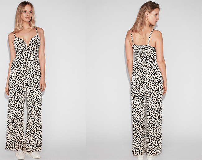 leopard print v-wire cami jumpsuit