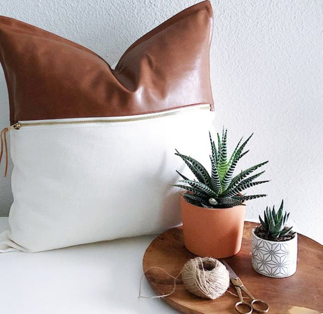 linen and leather vegan cushion vegan home decor