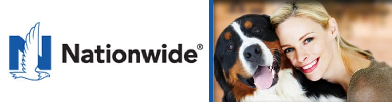 A happy Bernese Mountain Dog with his owner; Nationwide Pet Insurance review