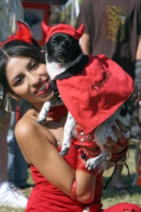 Owner and pet halloween costumes - little devils