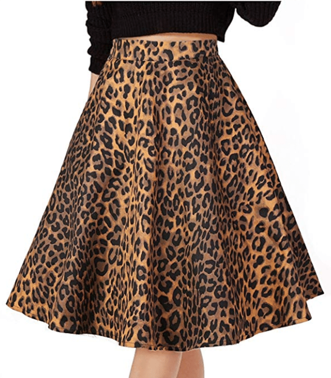 pleated vintage leopard print skirt