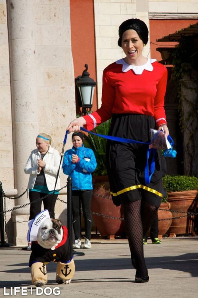 popeye and olive oyl pet and owner halloween costumes