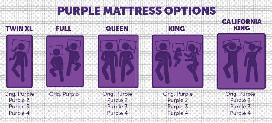 Purple mattress sizes