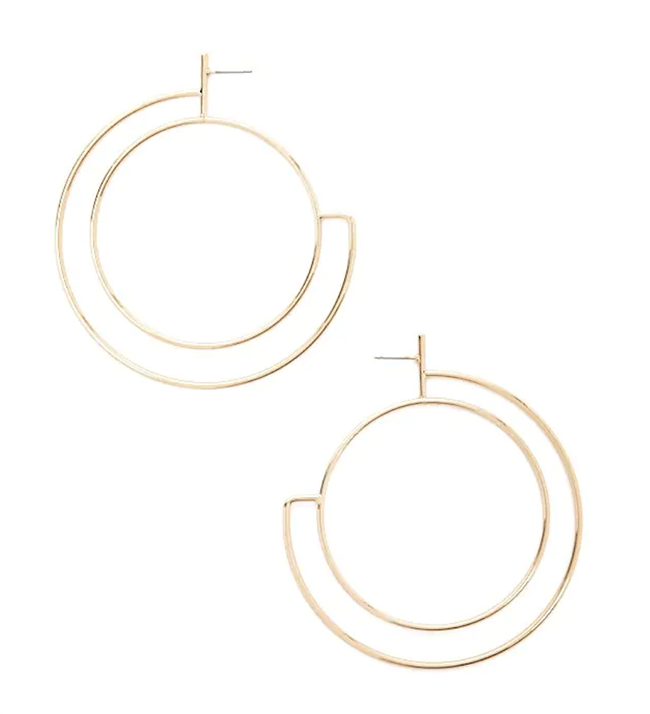 structured statement earrings -double-hoop earrings