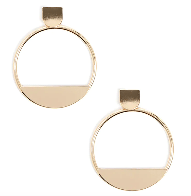structured statement earrings - geo cutout hoop earrings