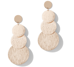 structured statement earrings - goldtone disc drop earring