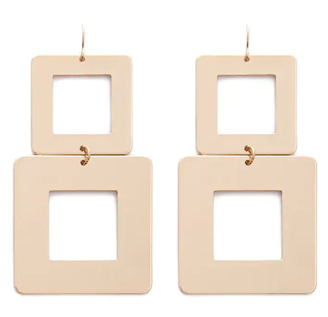 structured statement earrings - tiered square drop earrings