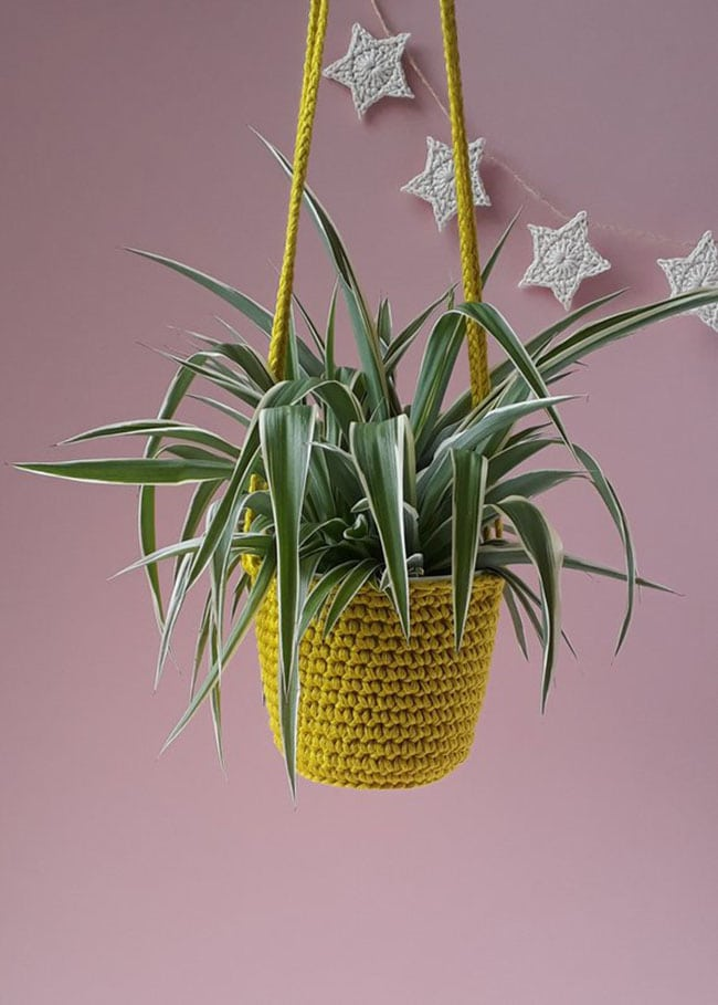 vegan home decor crochet hanging planter