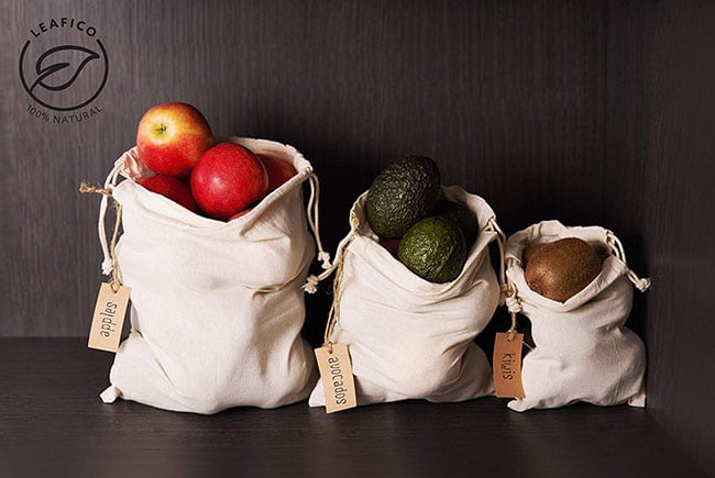 vegan home decor ideas - eco-friendly storage bags