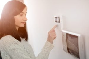 wireless home security system woman