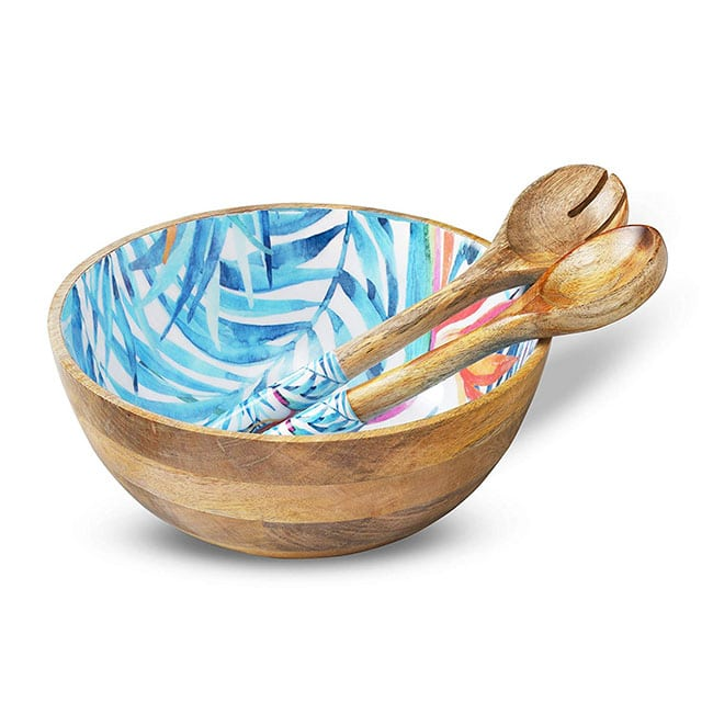 wooden salad bowl serving set for a vegan home