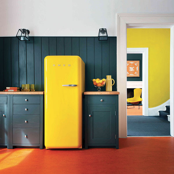 yellow smeg fridge