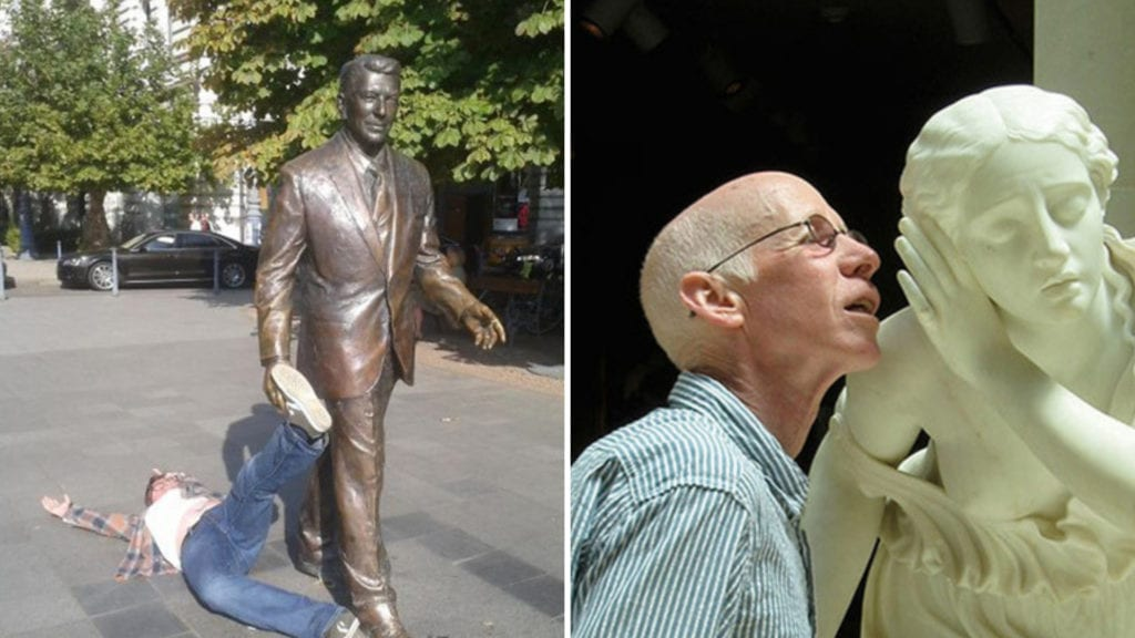 A Bit Weird? Hilarious Photos of People Posing With Statues