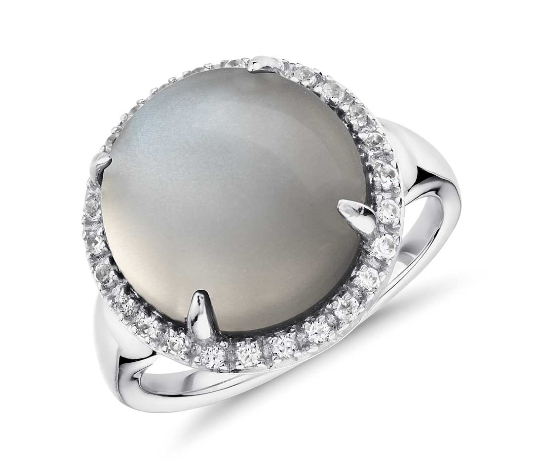 Alternative engagement rings: Grey Moonstone and White Topaz Round Ring