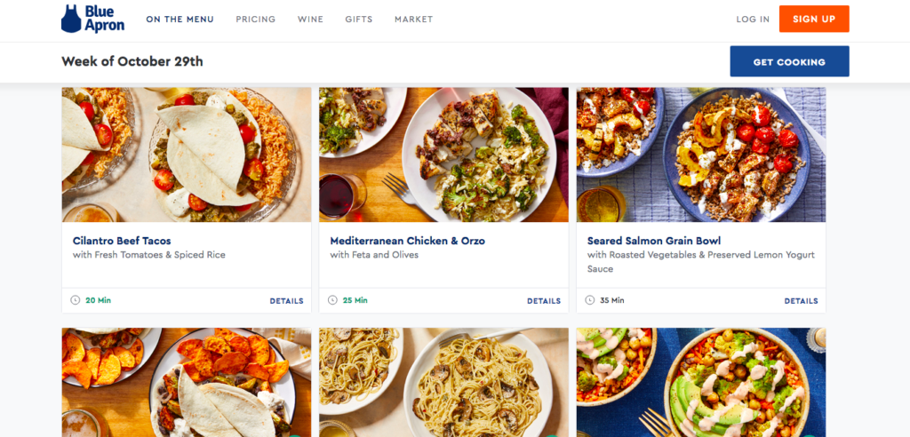 blue apron meal plan options and recipe index