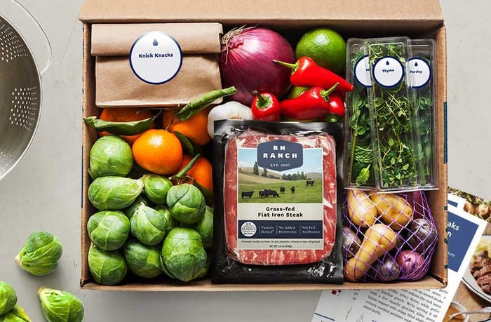 Blue apron meal kit recipe box
