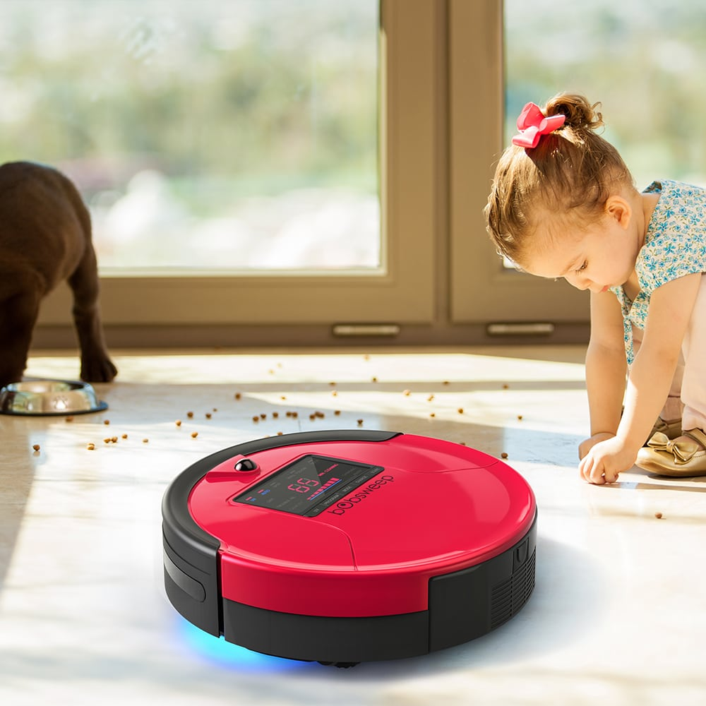 Bobsweep Pethair Robot Vacuum cleaning pet food mess