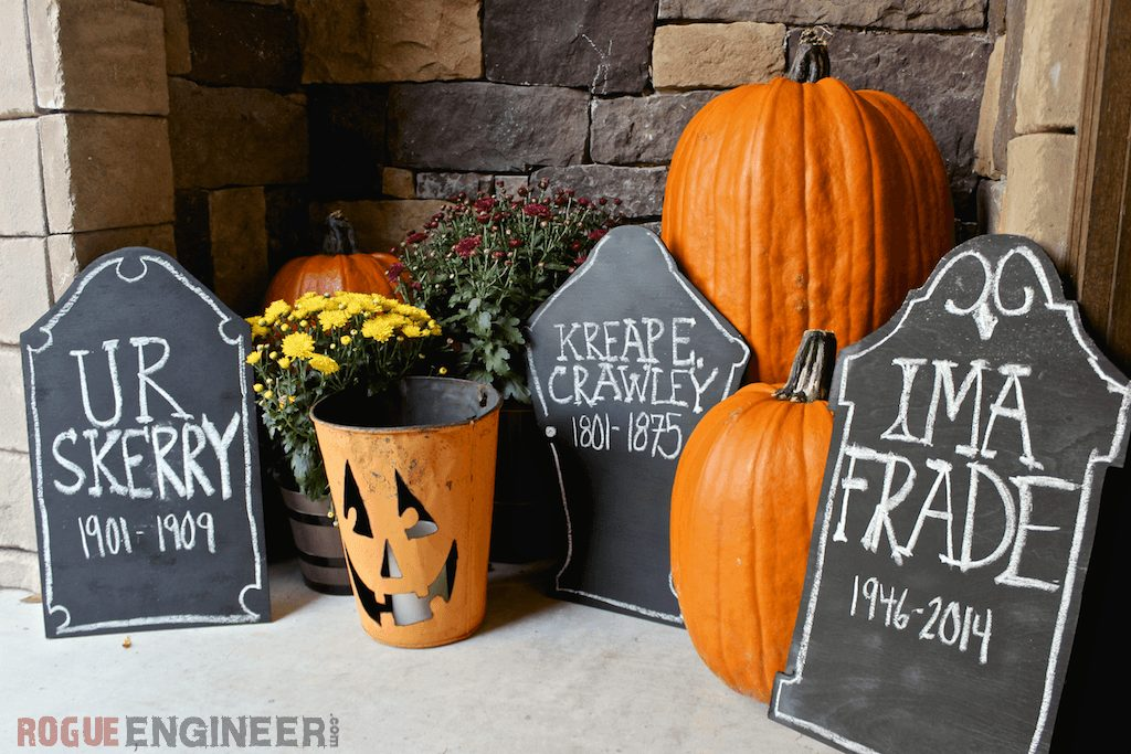 diy halloween decorations tombstone chalked