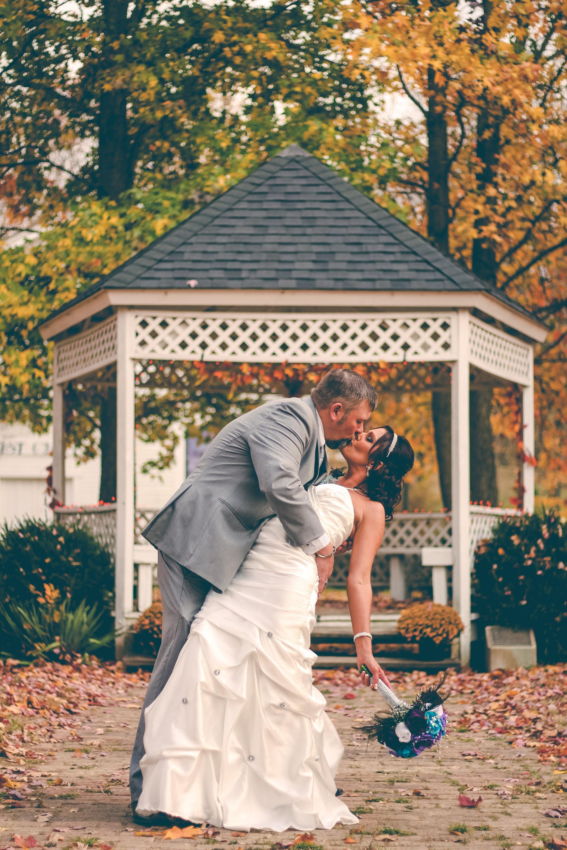 Fall photos fall wedding kiss