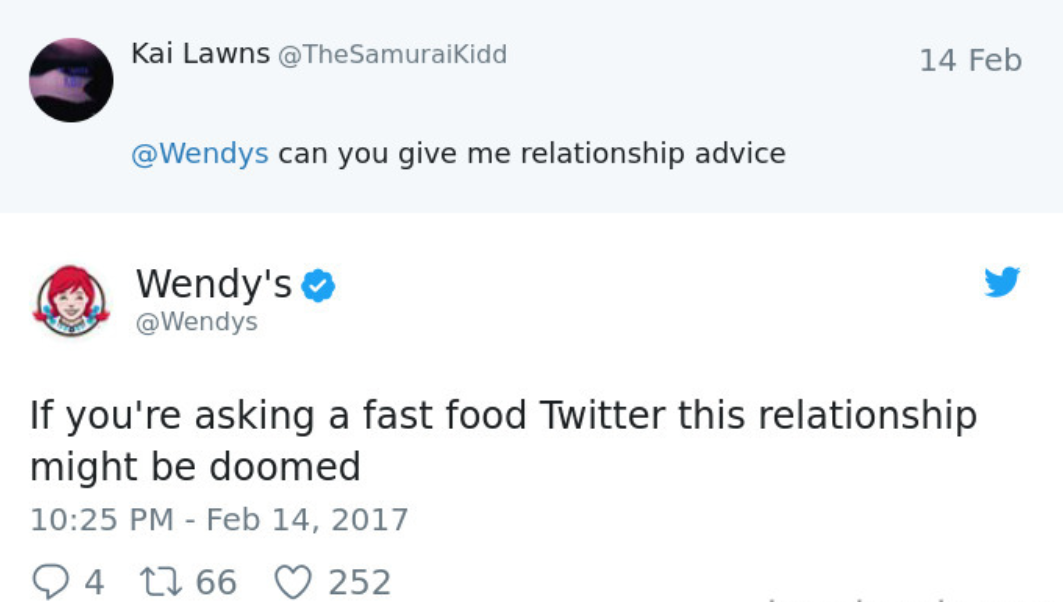 wendy's twitter roasts relationship