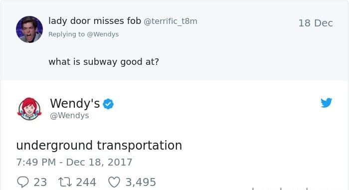 wendy's twitter roasts subway
