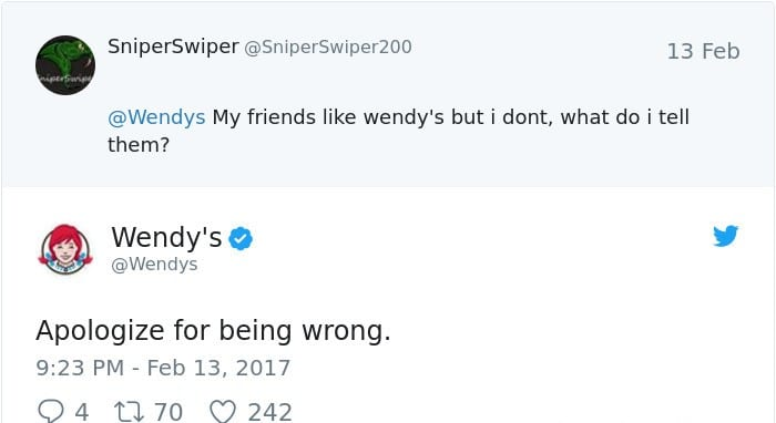wendy's twitter roasts friends apologize