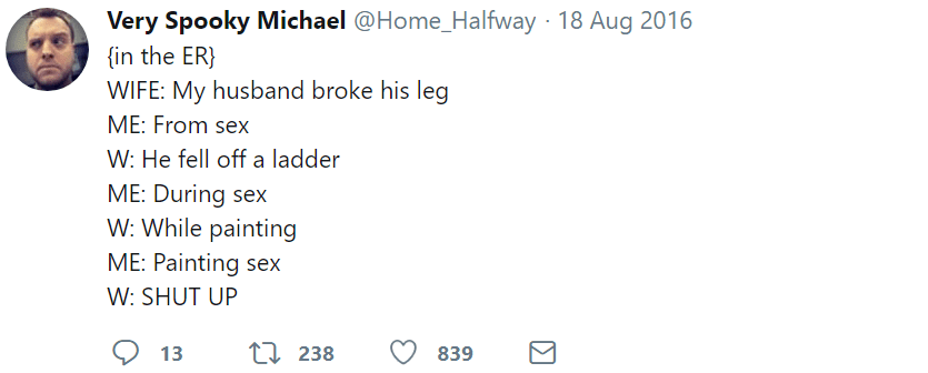 marriage tweets break leg