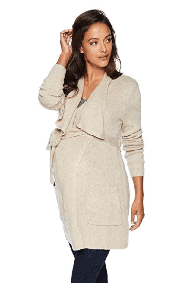 maternity clothes - long sleeve drape front shawl cardigan