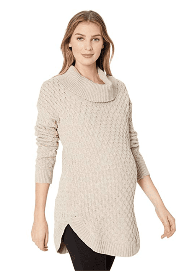 maternity clothes - long sleeve honeycomb stitch cowl neck tunic sweater