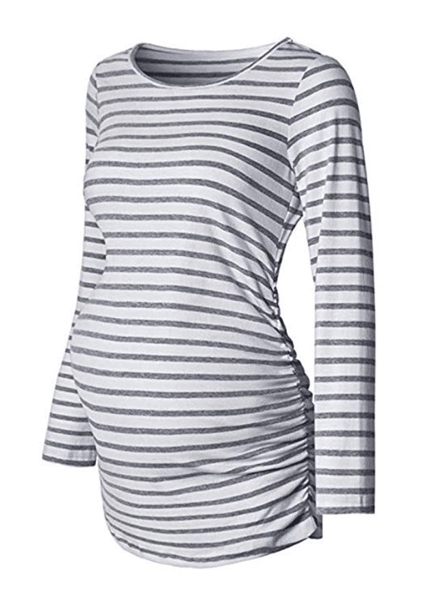 maternity clothes - stripe long sleeve basic shirt