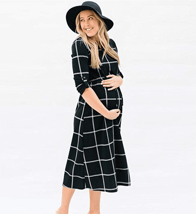 maternity clothes - v-neck 3:4 sleeve dress nursing midi casual lattice skirt