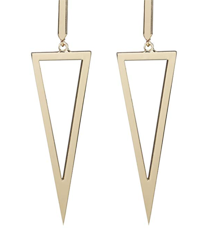 metal triangle dangle drop earrings