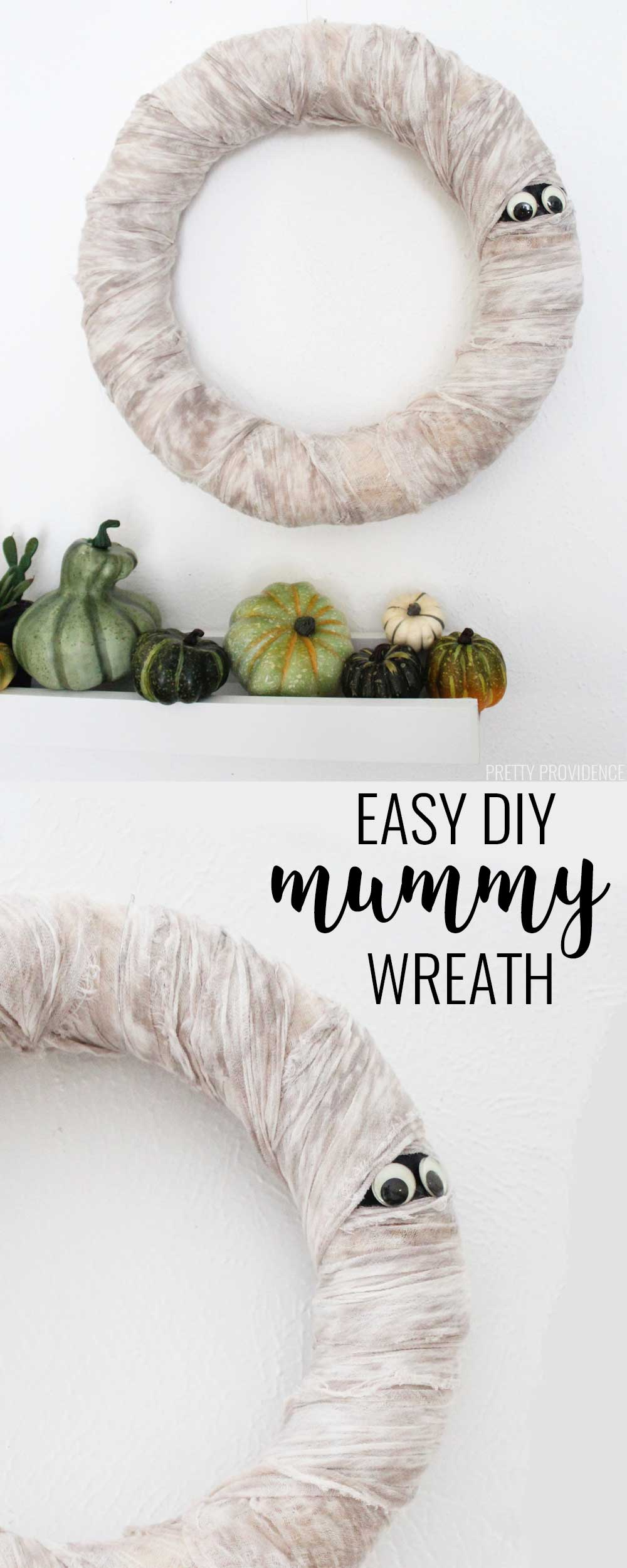 mummy wreath diy halloween decorations