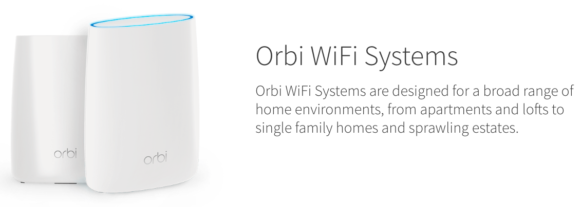 Netgear Orbi wifi system is designed for large spaces
