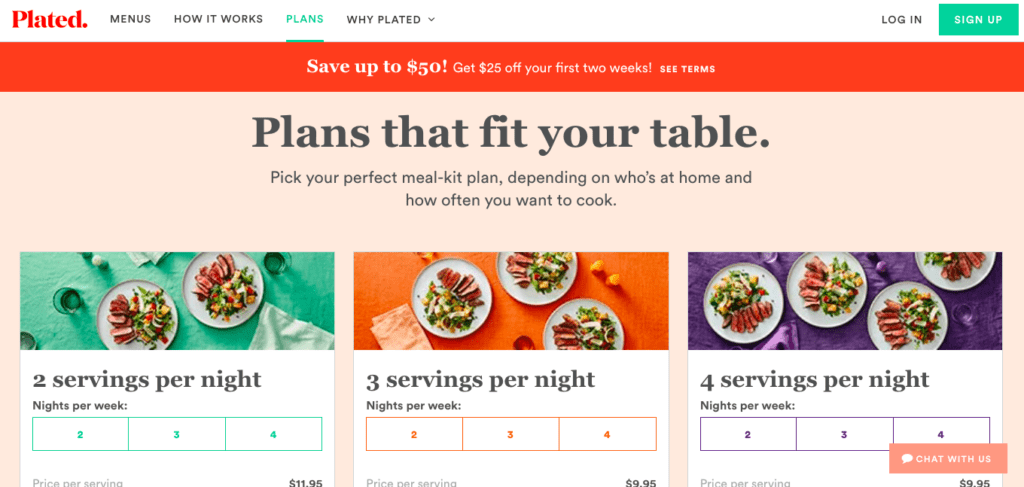 meal plan options from plated meal delivery service