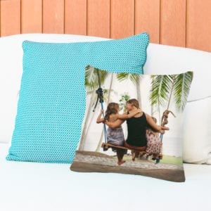 a set of printed photo gifts pillows