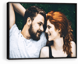 a couple in a pop art printed photo gift