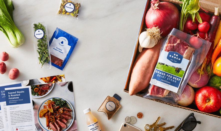 blue apron - reduces food waste at home